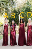 Vintage Burgundy Sequins Backless Long Prom Dresses Bridesmaid Dresses