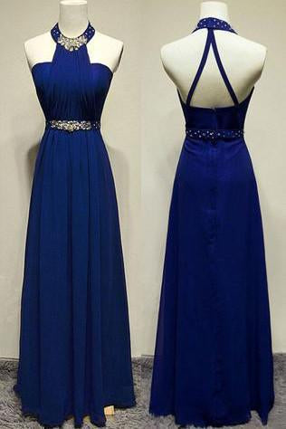Long Elegant Sleeveless A-line Halter Blue Backless Prom Dresses