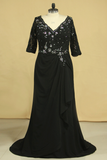 2019 Plus Size Black V Neck Mother Of The Bride Dresses With Beads And Applique Chiffon