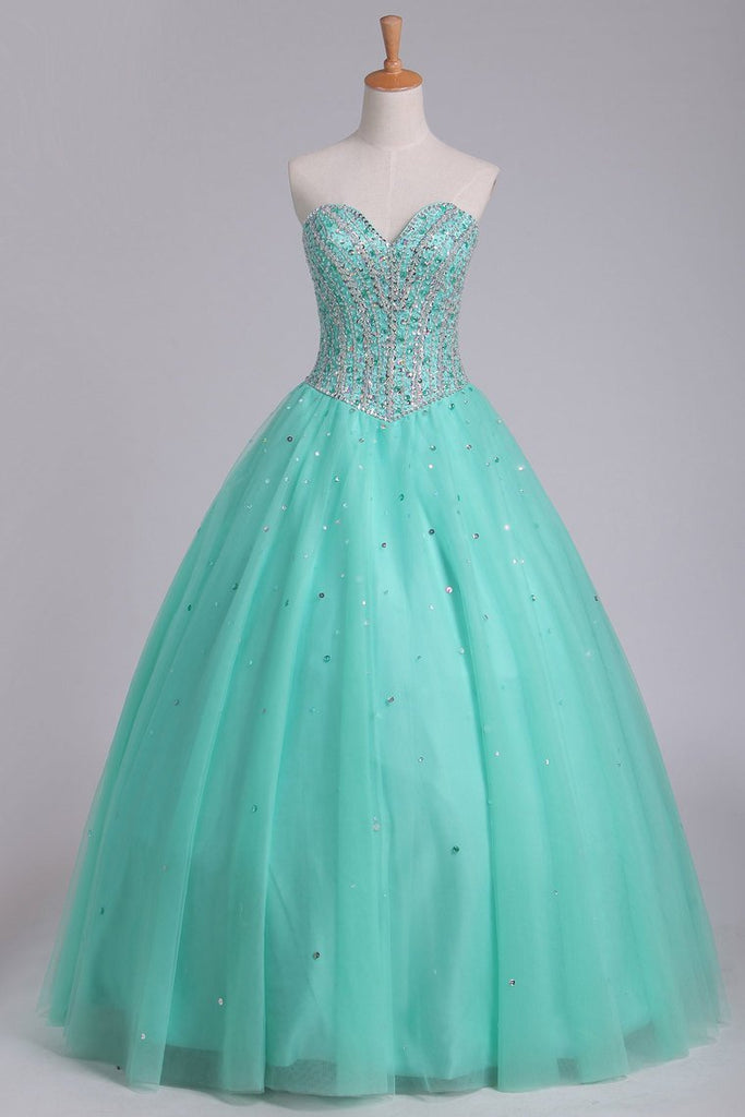 2019 Ball Gown Sweetheart Tulle Quinceanera Dresses Floor Length Lace Up
