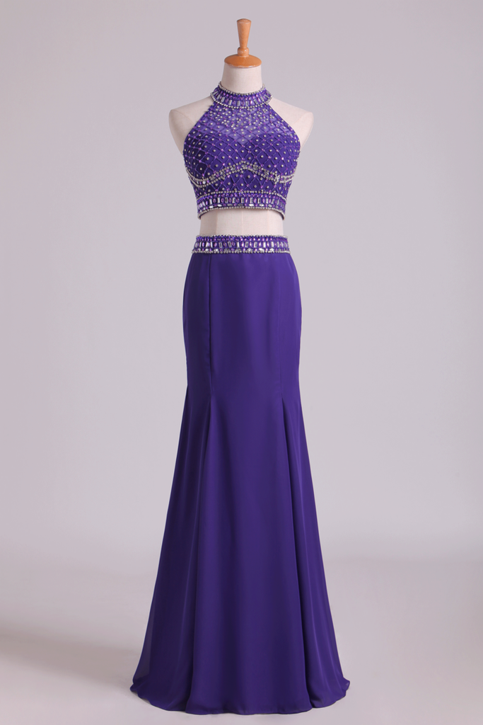 2019 Prom Dresses Halter Two-Piece Beaded Bodice Mermaid Open Back Spandex & Tulle Floor Length