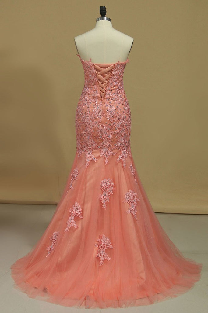 2019 Mermaid Prom Dresses Sweetheart With Beading And Applique Tulle Sweep/Brush Train