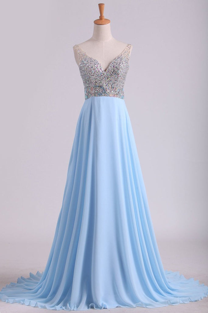 2019 Prom Dresses V Neck Beaded Bodice Sweep Train Chiffon A