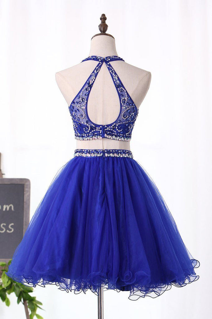 Halter Homecoming Dresses Two-Piece Beaded Bodice Tulle