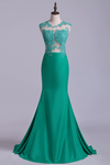 2019 New Arrival Scoop Mermaid Prom Dresses With Applique