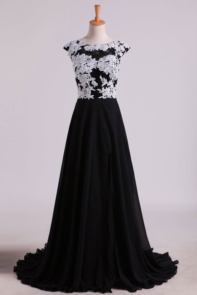 2019 Prom Dresses A Line Scoop Open Back With Applique & Slit Sweep Train Chiffon