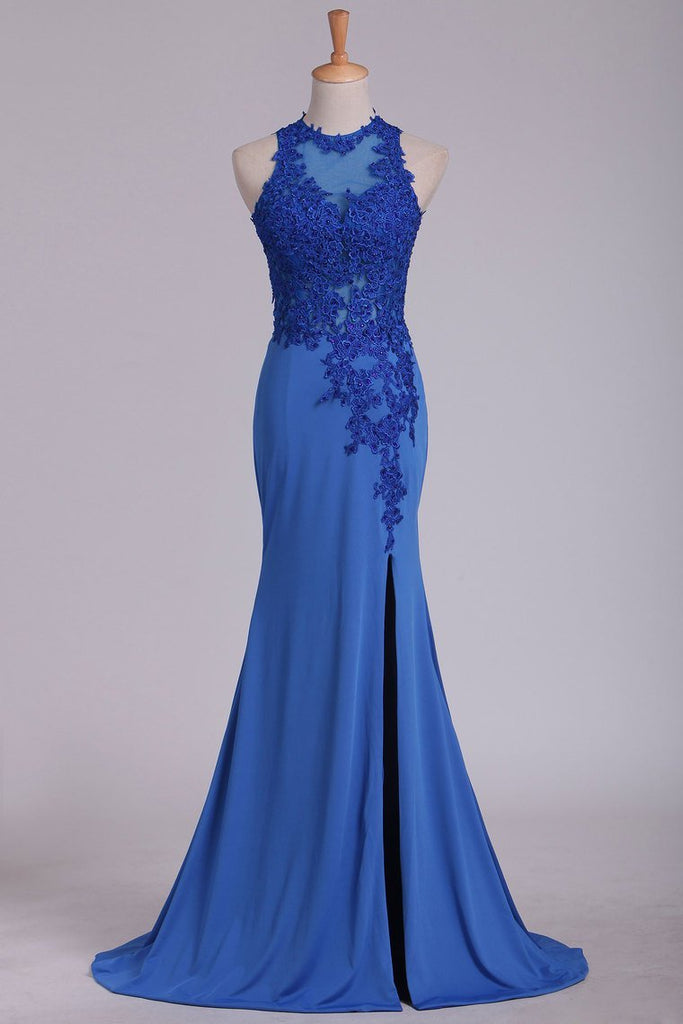 2019 Prom Dresses Scoop With Applique And Slit Spandex Sheath Open