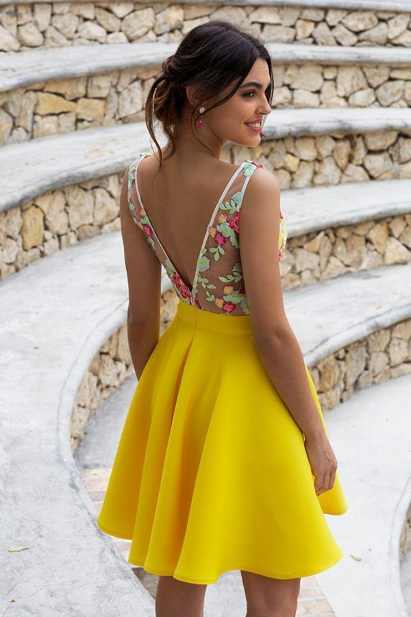 Yellow Floral Satin Illusion Back Daffodil V Neck Homecoming Dresses Short Cocktail Dresses SSA14985