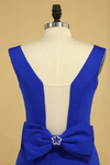 2019 Plus Size Prom Dresses Square Neckline Sweep Train With Bow-Knot Dark Royal Blue