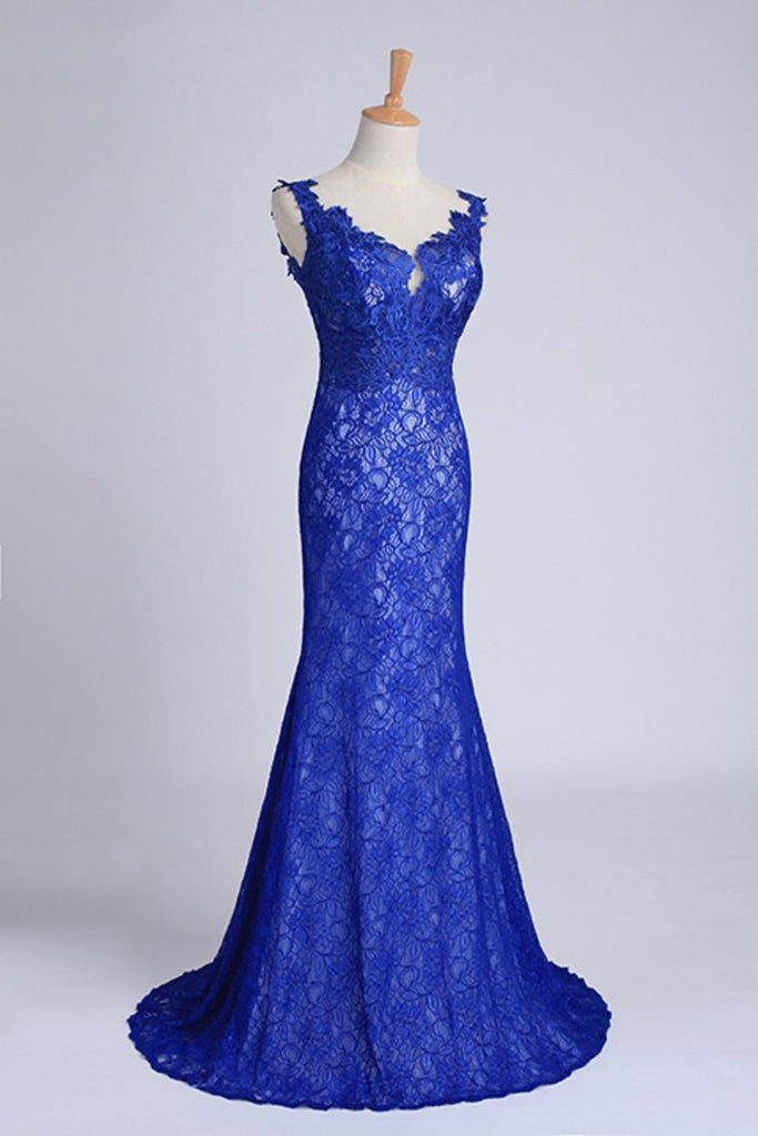2019 Evening Dresses Bateau Mermaid With Deep V Shape Back Lace&Tulle Dark Royal Blue