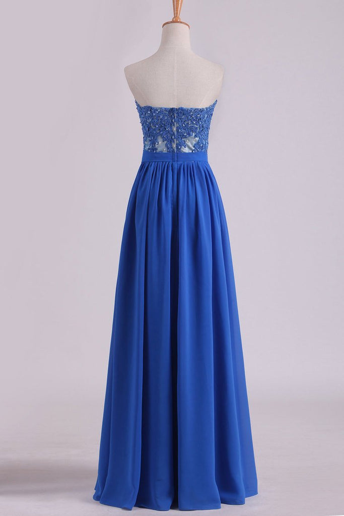 2019 Sweetheart A Line Prom Dresses Chiffon With Applique And Beads Floor