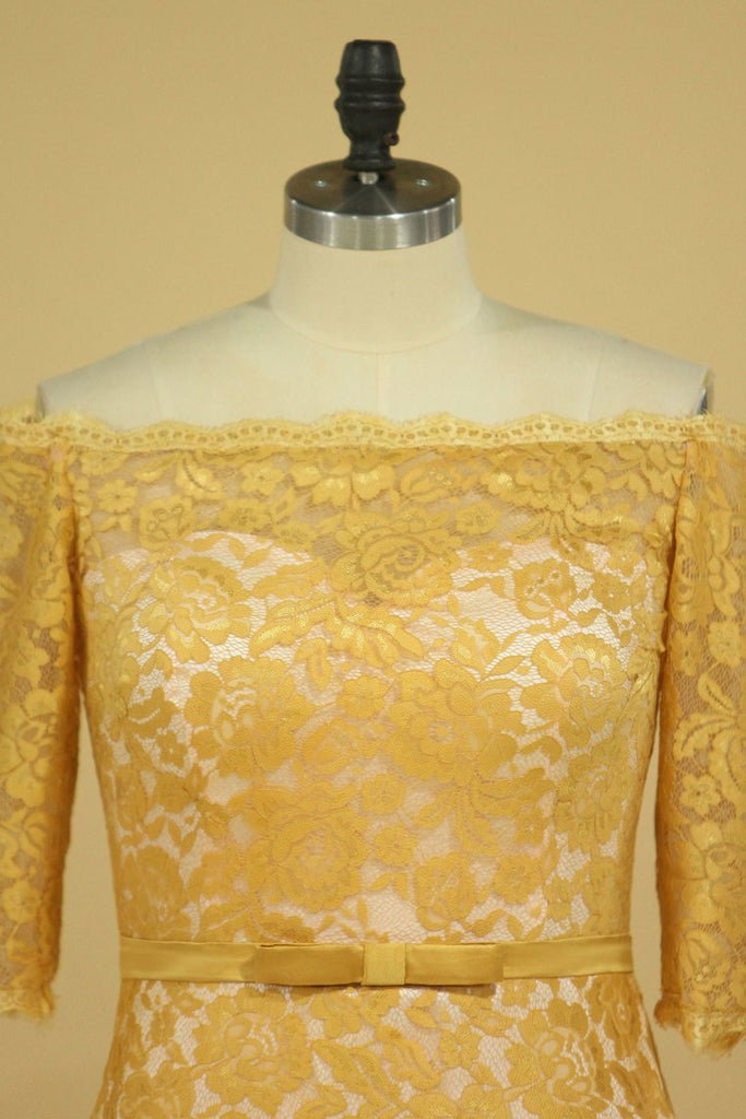 2019 Plus Size Gold Mother Of The Bride Dresses Boat Neck Half Sleeve Lace Sheath