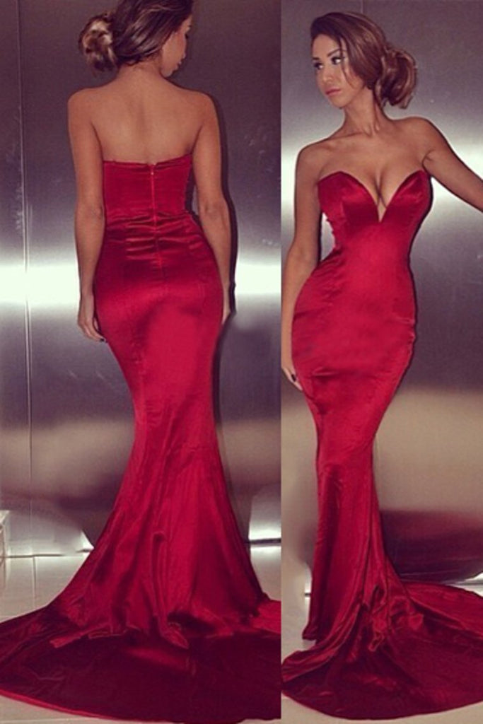 2019 Concise Sweetheart Mermaid/Trumpet Evening Dresses Elastic Satin Court Train