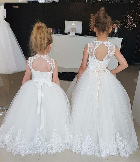 Princess Ivory Flower Girl Dresses with Lace Appliques, Cute Little Girl Dress SSA15590