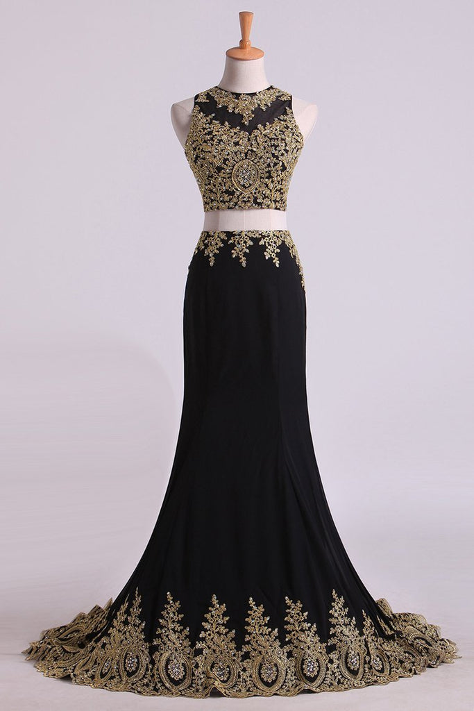 2019 Hot Mermaid Two-Piece Prom Dresses Scoop Sweep/Brush Spandex With Gold Applique