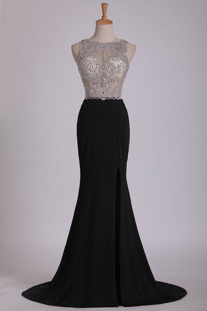 2019 Spandex Beaded Bodice Prom Dresses Scoop Open Back