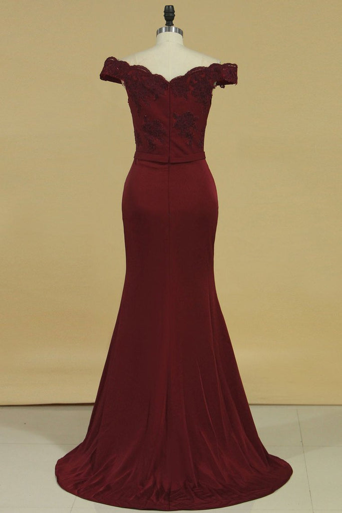 2019 Prom Dresses Spandex Off The Shoulder With Applique Sweep