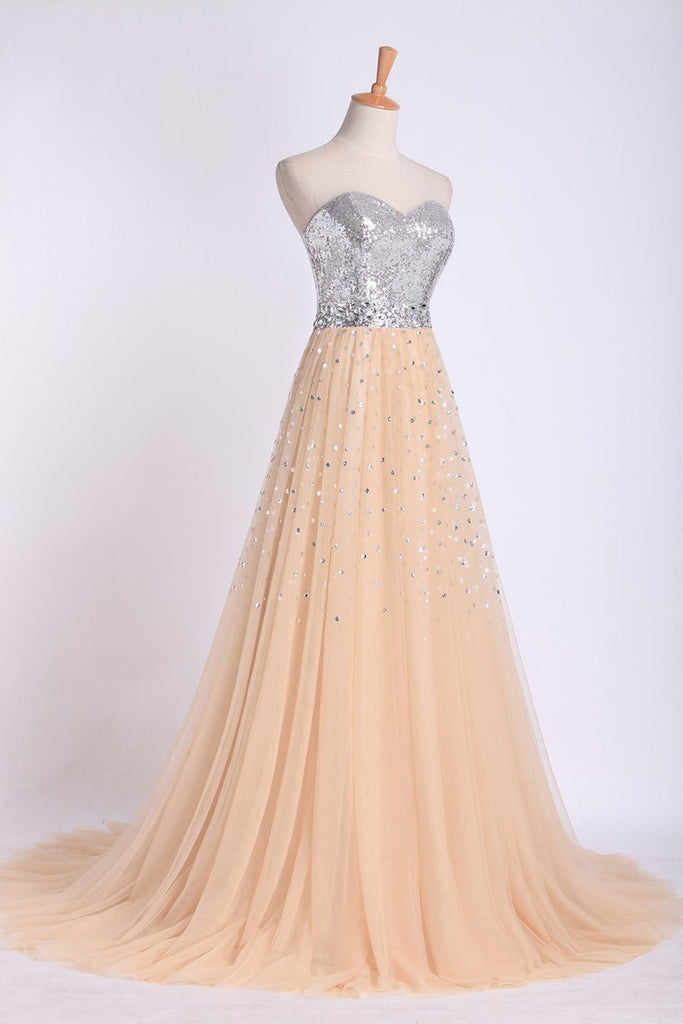 2019 Sweetheart A Line Sweep Train Prom Dresses Tulle With