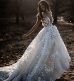 A Line Ivory V Neck Country Wedding Dresses with Appliques, Beach Wedding Gowns SSA15548