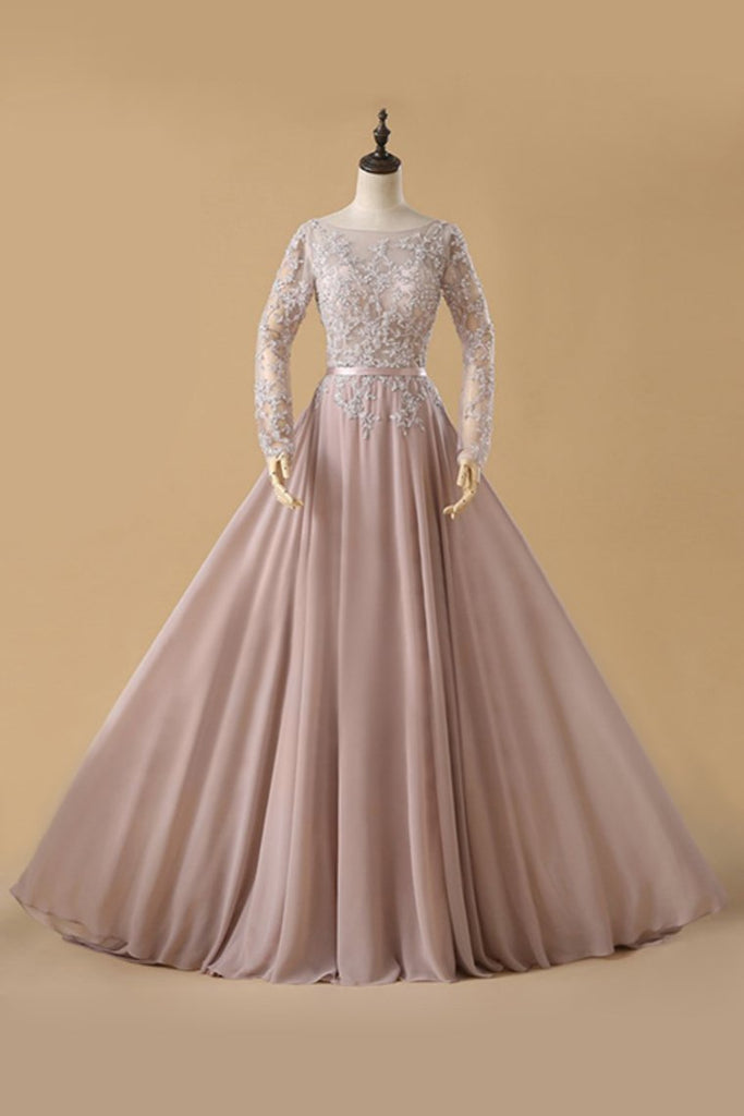 2019 A Line Chiffon Prom Dresses Bateau Long Sleeves With Beads And Applique