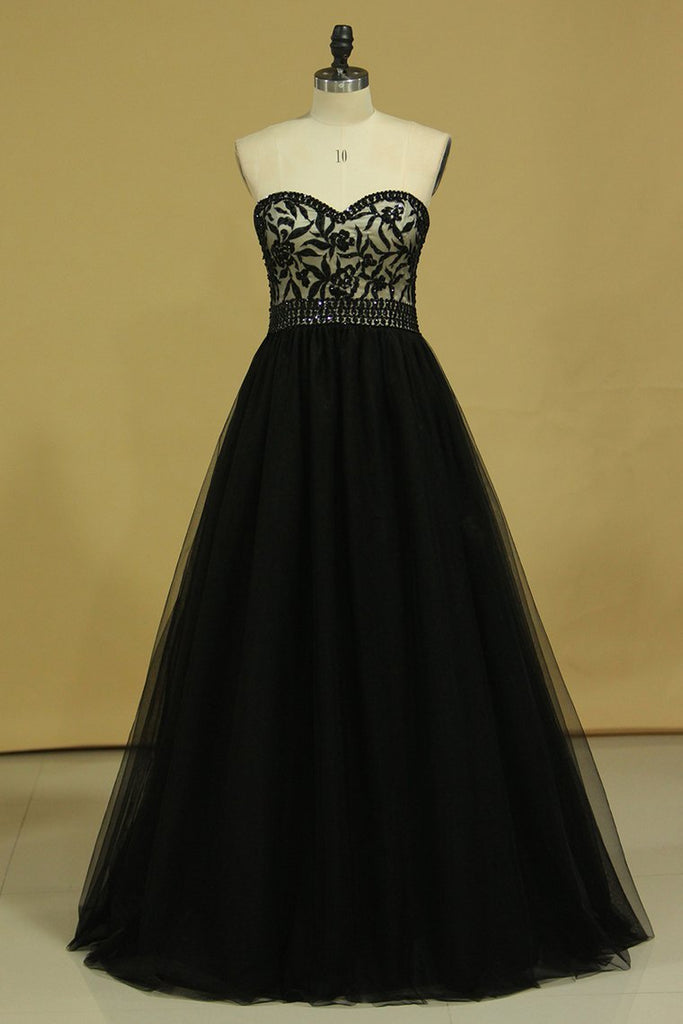 2019 Plus Size Black A Line Prom Dresses Sweetheart Tulle With Applique & Beads Floor Length