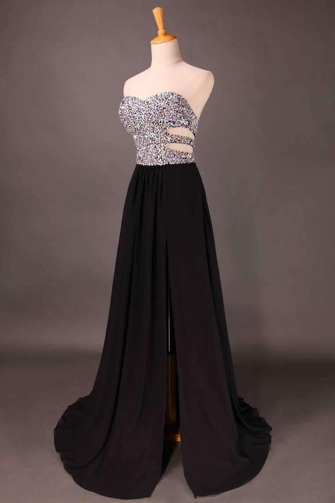 2019 Sweetheart Prom Dresses Beaded Bodice A Line