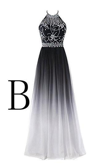 Elegant A-Line Halter Gradient Chiffon Long Ombre Beads Lace up Prom Dresses