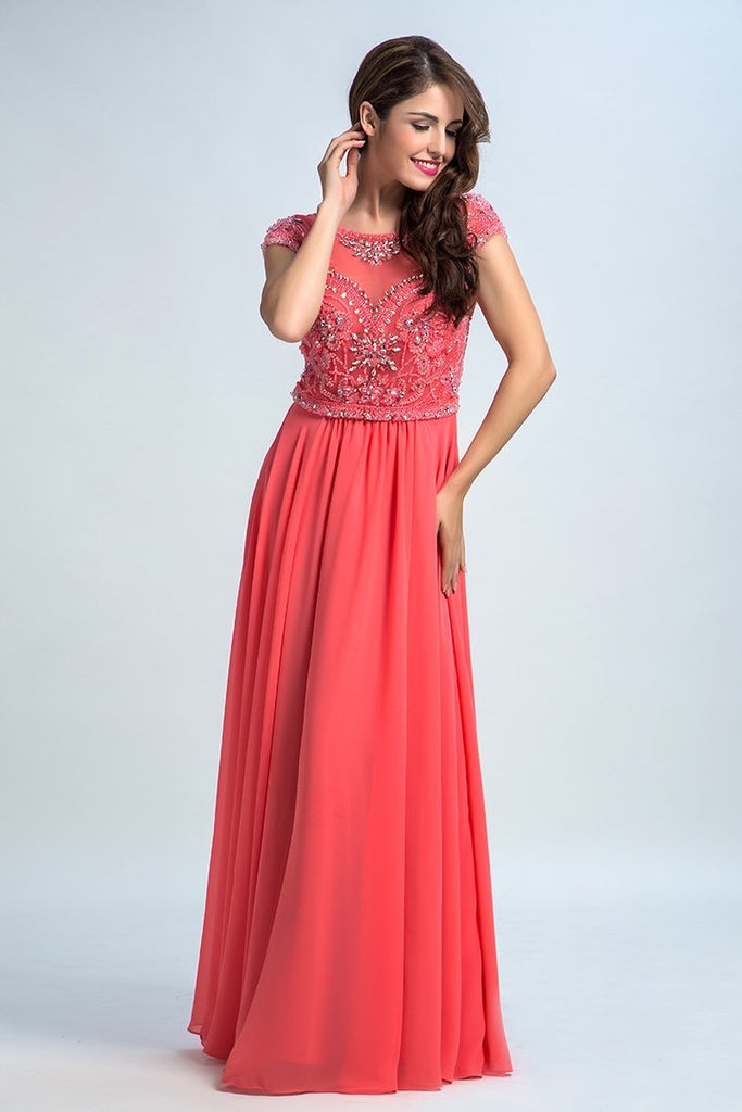 2019 Prom Dresses Scoop A Line Chiffon With Beading Cap Sleeves