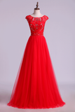 2019 Prom Dresses A Line Scoop Long Tulle V Back Red