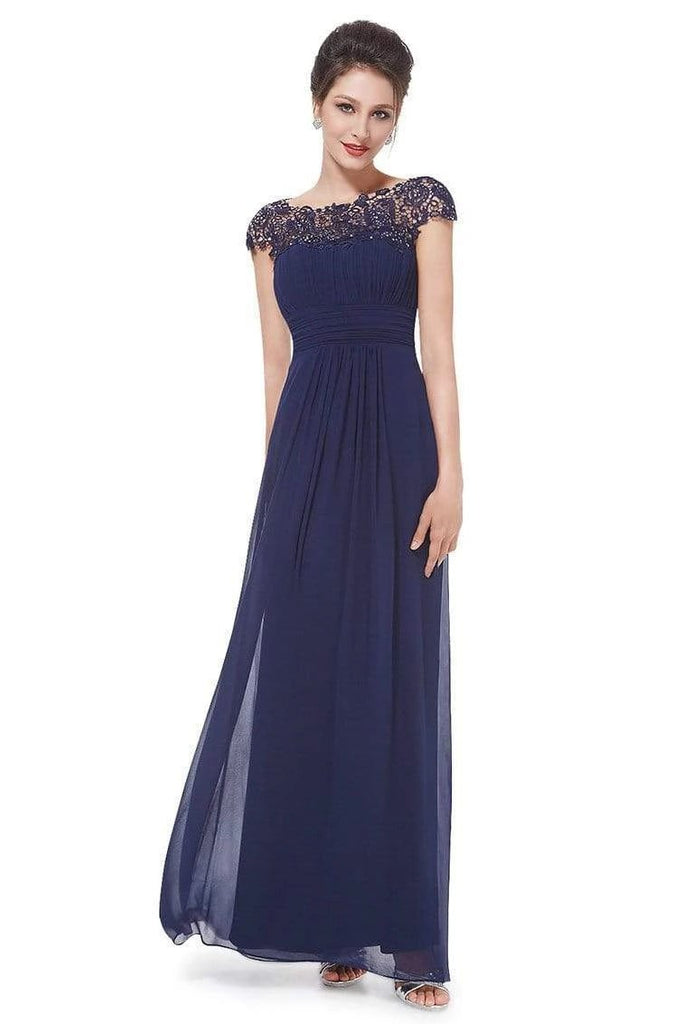 Elegant Lace Cap Sleeve Chiffon Evening Gowns Open Back Bateau Long Prom Dresses SSA15170