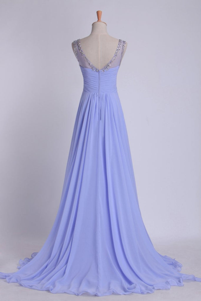 2019 V Neckline And Deep V Back Chiffon Long A Line Prom Dress With Beaded Tulle