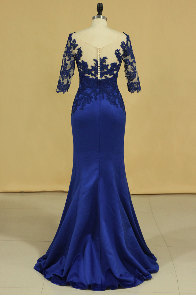 2019 Bateau Dark Royal Blue Mother Of The Bride Dresses 3/4 Length Sleeve With Applique Satin Dark Royal Blue