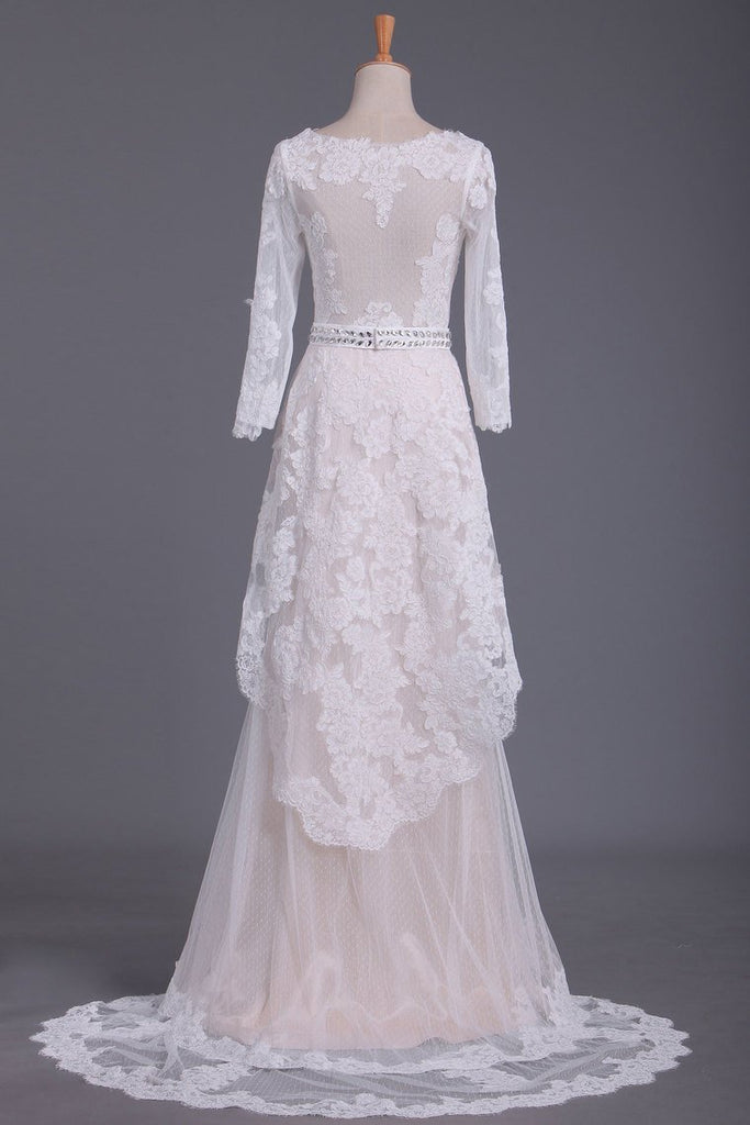 2019 Asymmetrical Wedding Dresses V Neck Mid-Length Sleeves With Applique And Sash Tulle