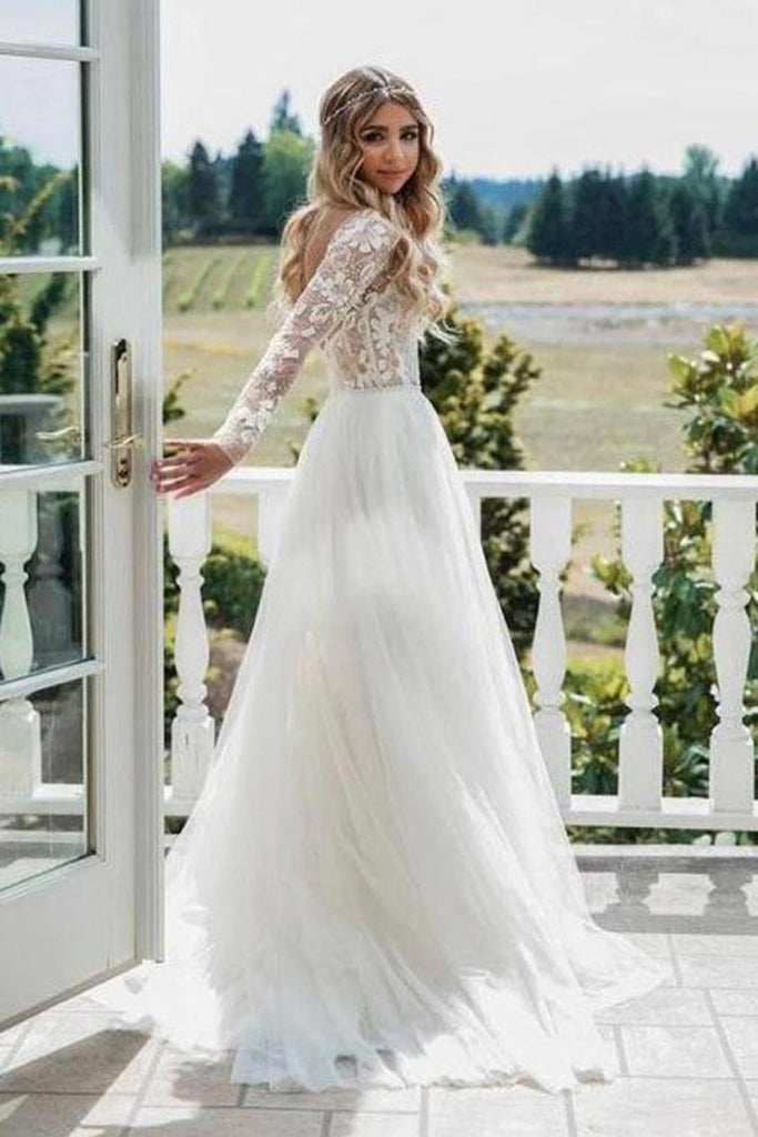 Chic A-Line Long Sleeves Lace Bodice See Through Wedding Dresses Backless Country Wedding SSAPY73AEE8