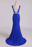 2019 Open Back Column Prom Dresses V Neck Dark Royal Blue Beaded Waistline Sweep Train
