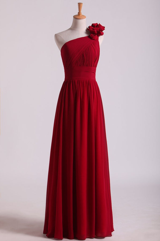 2019 One Shoulder Bridesmaid Dresses Chiffon With Handmade Flower Burgundy/Maroon