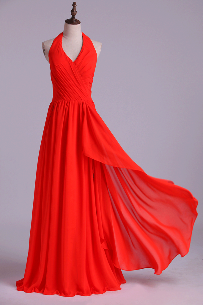 2019 Halter A-Line Bridesmaid Dresses Floor Length With Long Chiffon Skirt