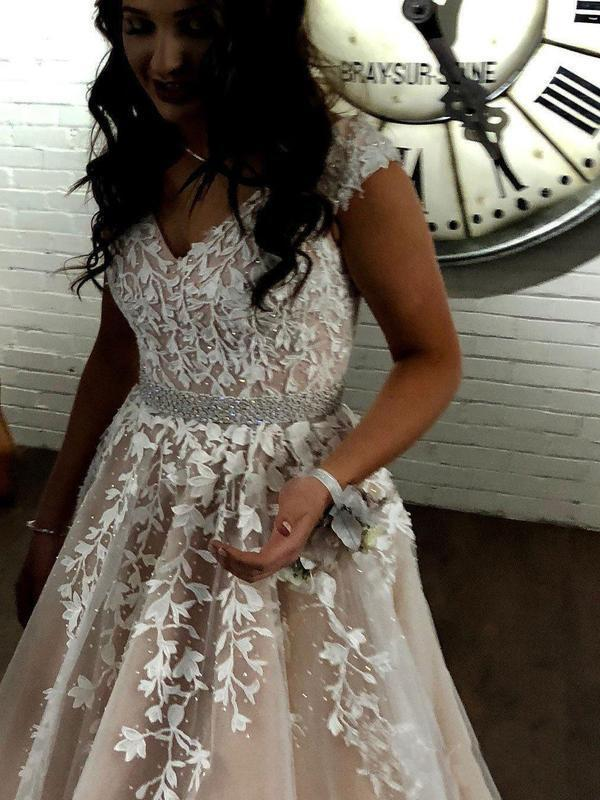 A Line Cheap Nude Quinceanera Dress Lace Appliques Cap Sleeve Beaded Prom Dresses