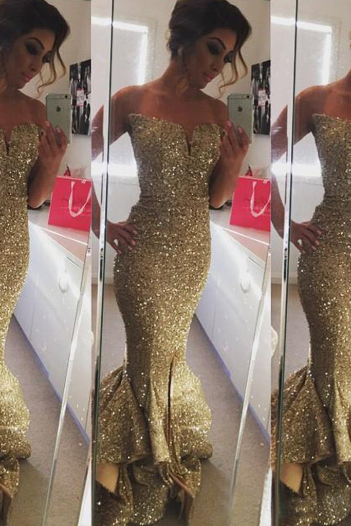 2019 New Style Prom Dresses Sequined Zipper Up