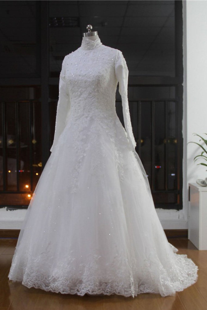 2019 High Neck Wedding Dresses A Line Tulle Muslim With Applique