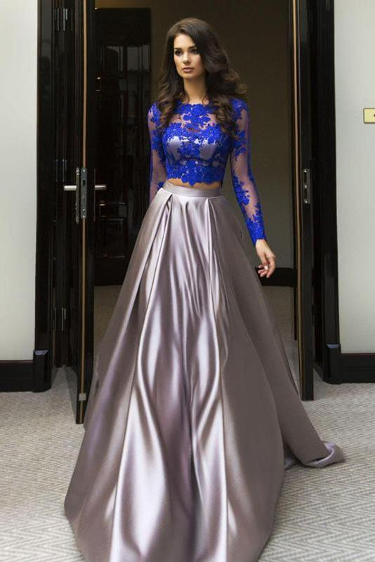 Elegant Blue Two Piece A-line Scoop Long Sleeve Elastic Satin Floor-Length Prom Dresses