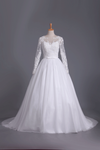2019 Long Sleeves Scoop Ball Gown Wedding Dresses Tulle With Applique And Sash