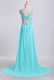 2019 Open Back Halter Prom Dresses A Line Sweep Train Chiffon With Beads&Ruffles