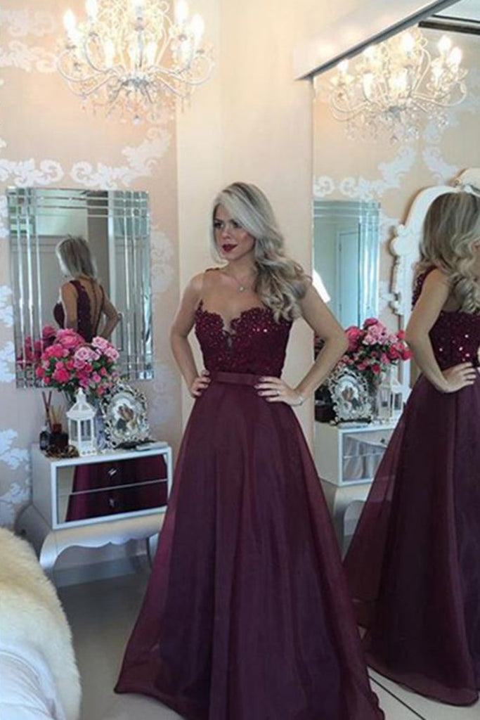 2019 Prom Dresses Scoop A Line With Sash And Applique