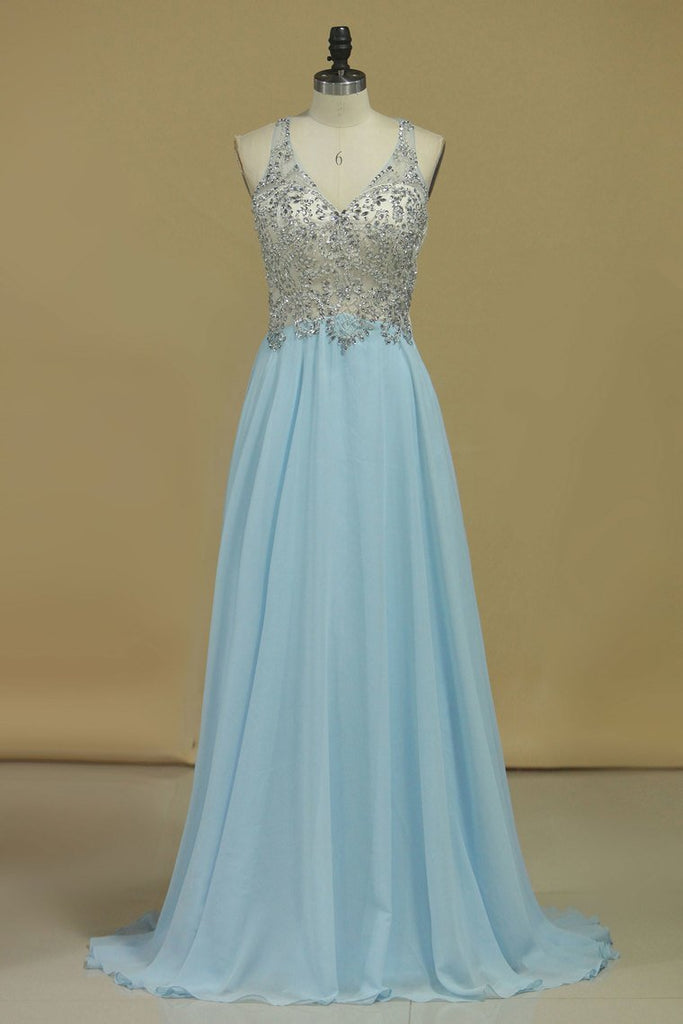 2019 Chiffon & Tulle V Neck Prom Dresses Beaded Bodice A Line