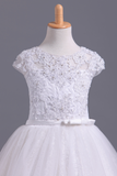 2019 Flower Girl Dresses Short Sleeves Scoop A Line With Applique And Ribbon Tulle