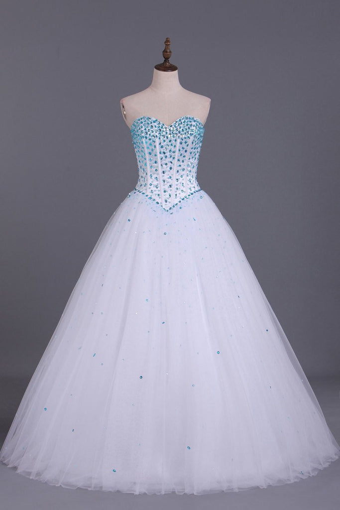 2019 Sweetheart Prom Dresses A Line Floor Length Beaded Bodice With Tulle