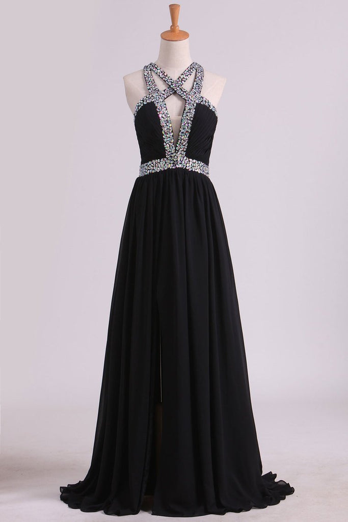 2019 Black Prom Dresses A Line Chiffon With Beads And Slit Cross Back