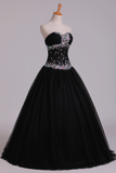 2019 Prom Dresses Ball Gown Black Sweetheart Tulle With Rhinestone Floor Length