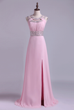 2019 Scoop Prom Dresses A Line Sweep Train Open